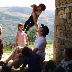 Jeff playing with the children in the village, Albania